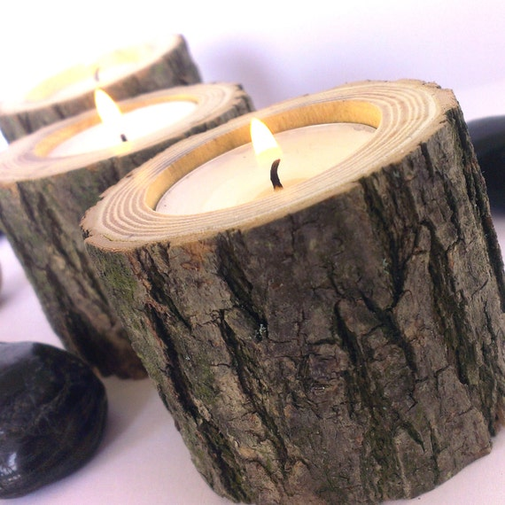Natural rustic wooden candle holders tea light holder