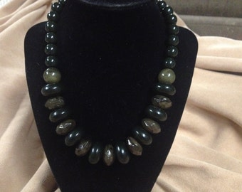 Vintage Green and Black Acrylic Beaded Necklace, Length 18''