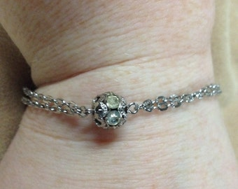 Vintage Silvertone with Two White Gemstone Accents, Length 7.5''