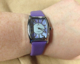 Vintage PASTORELLI Silvertone and Lilac Leather Band Wrist Watch with New Battery