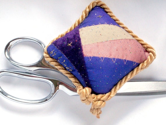 Upcycled Pincushion, Recycled Fabric, Coral, Purple, Gold Cording, Tulle Covered, Embellished