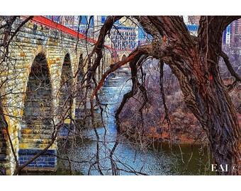 Stonearch Bridge/color photography/Minneapolis skyline/bridge/landmark/print/wall art