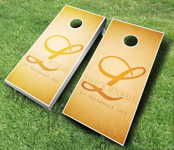 Custom Rustic Wedding Cornhole Set W Bags By EverythingCornhole