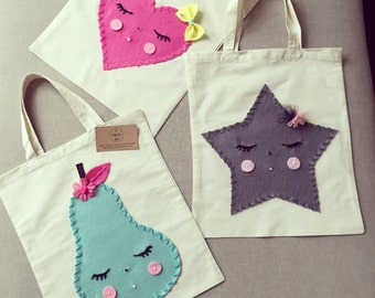 Super cute library bags for little miss, felt and wool detailing hand adorned by me, made to order x