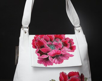 Gorgeous leather handmade bag with painting flower