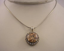 Sterling silver necklace with Peach and White Cubic Zirconium