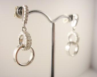 Sterling Silver, Cubic Zirconia, Dangle Earrings