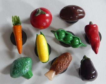 Hand sculpted/painted polymer clay magnets: variety of nine different vegetables