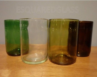 12 oz Wine Bottle Drinking Glasses Tumblers - Up-cycled from Used Wine Bottles