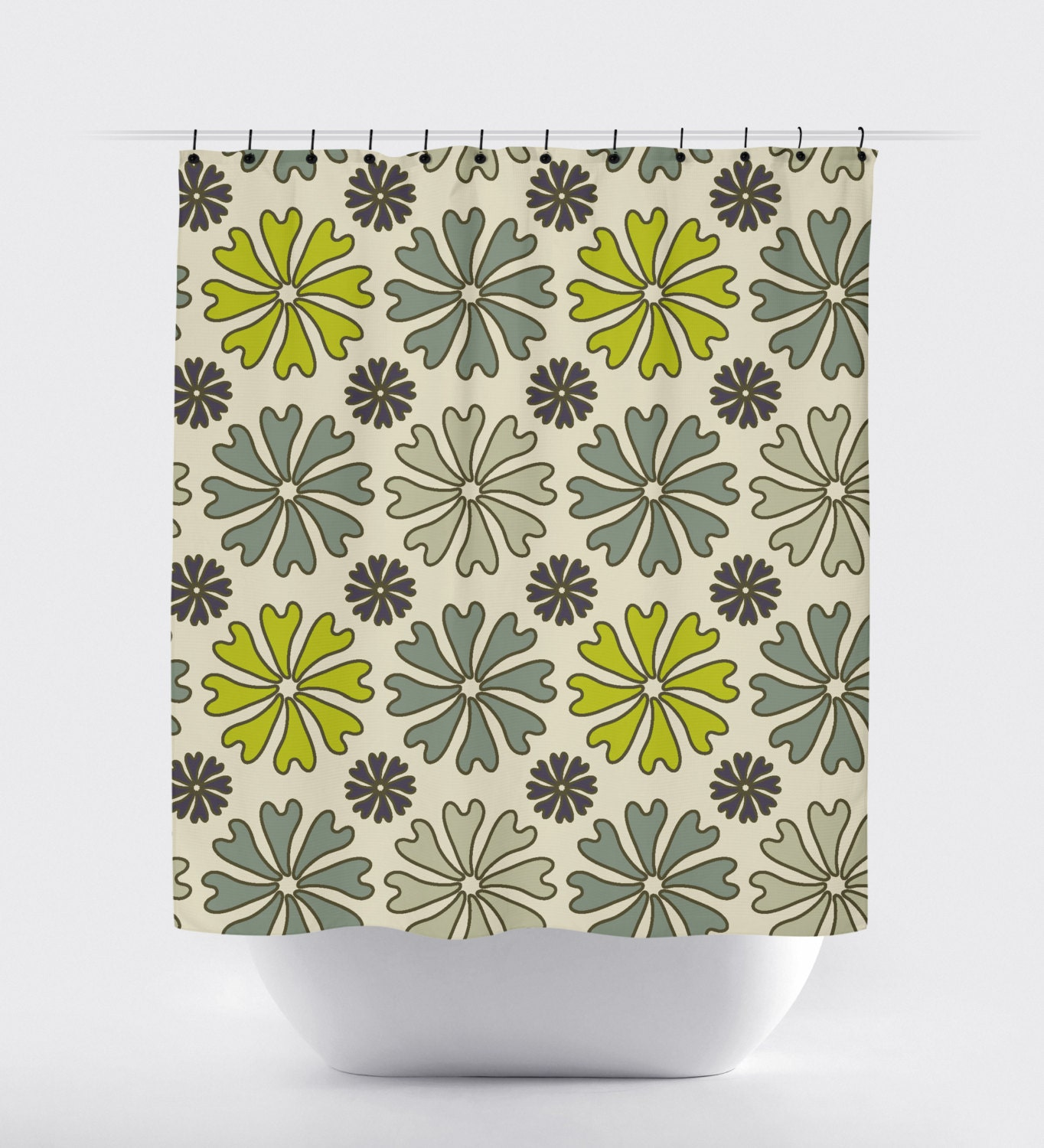 Flower Shower Curtain Lime Green And Gray Cream Modern