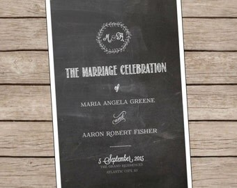 Custom Chalkboard Wedding Program Download