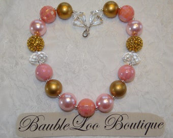Pale Pink and Gold Bubblegum Necklace