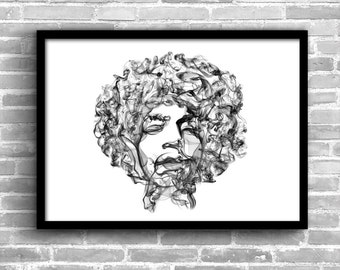 Jimi Hendrix Art Jimi Hendrix Poster Jimi Hendrix Wall Jimi Hendrix Painting Jimi Hendrix Print Home Decor Wall Decor Art Print