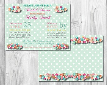 Mint and Coral Bridal Shower Invite