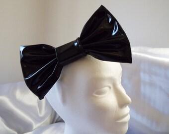 Shiny pvc wet look headband black large 7 inch big hair bow