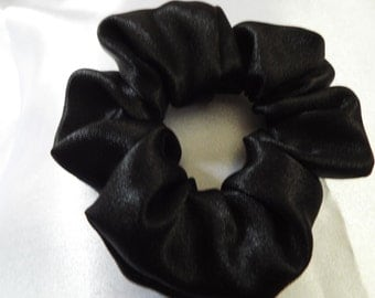 Black satin hair scrunchie