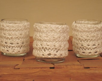Candle Cozies- Knitted Set Of Three