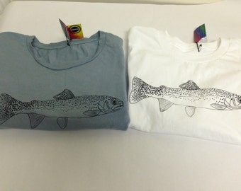 Rainbow trout T-shirt.  Express your love of fly fishing.  Handcrafted in Atlanta on 100% ring-spun cotton shirt.  Gray and white.