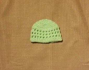 Crocheted Light Green Open Stitch Baby Hat