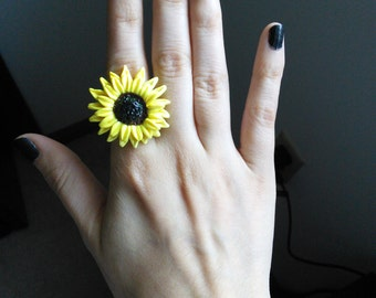 Polymer Clay Sunflower Adjustable Ring