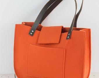 Orange felt tote bag, Tote, Felt tote, for shopping, shopper bag, genuine leather handles, tote bag, laptop bag, shoulder bag, handbag