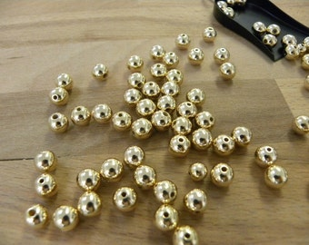 8mm 18k Gold filled round beads. Seamless Gold Beads 18/20, 100 pcs.