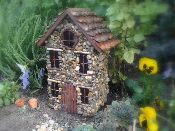 Stone Fairy Garden House with pinecone roof Perfect for any