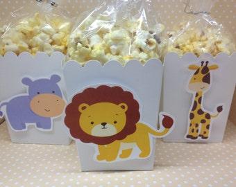 Jungle Animals, Elephants, Monkeys, Lions, Giraffes, Hippos Party Popcorn or Favor Boxes - Set of 10