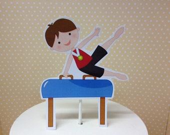 Boy Gymnastics Party Cake Topper Decoration
