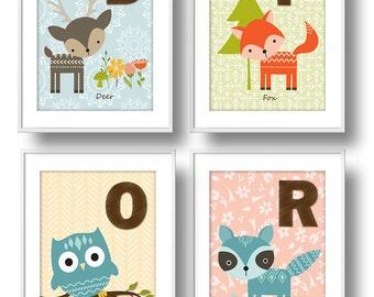 Wee Woodlands, ABC Nursery Wall Art, Baby Forest Animals Nursery Decor