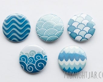 Sea waves - set of 5 button badges (25mm)