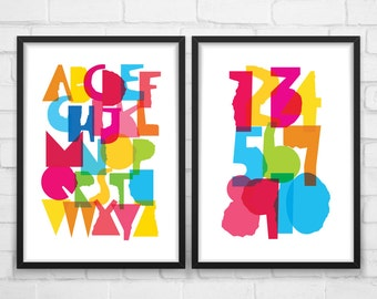Nursery wall Art, Alphabet and Numbers, play room wall art, ABC Wall Art, Nursery Alphabet, Playroom Poster, Nursery Poster, Nursery Art