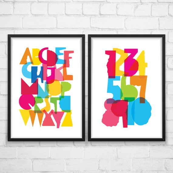 Alphabet Wall Decor Nursery : Nursery wall art alphabet and numbers play room