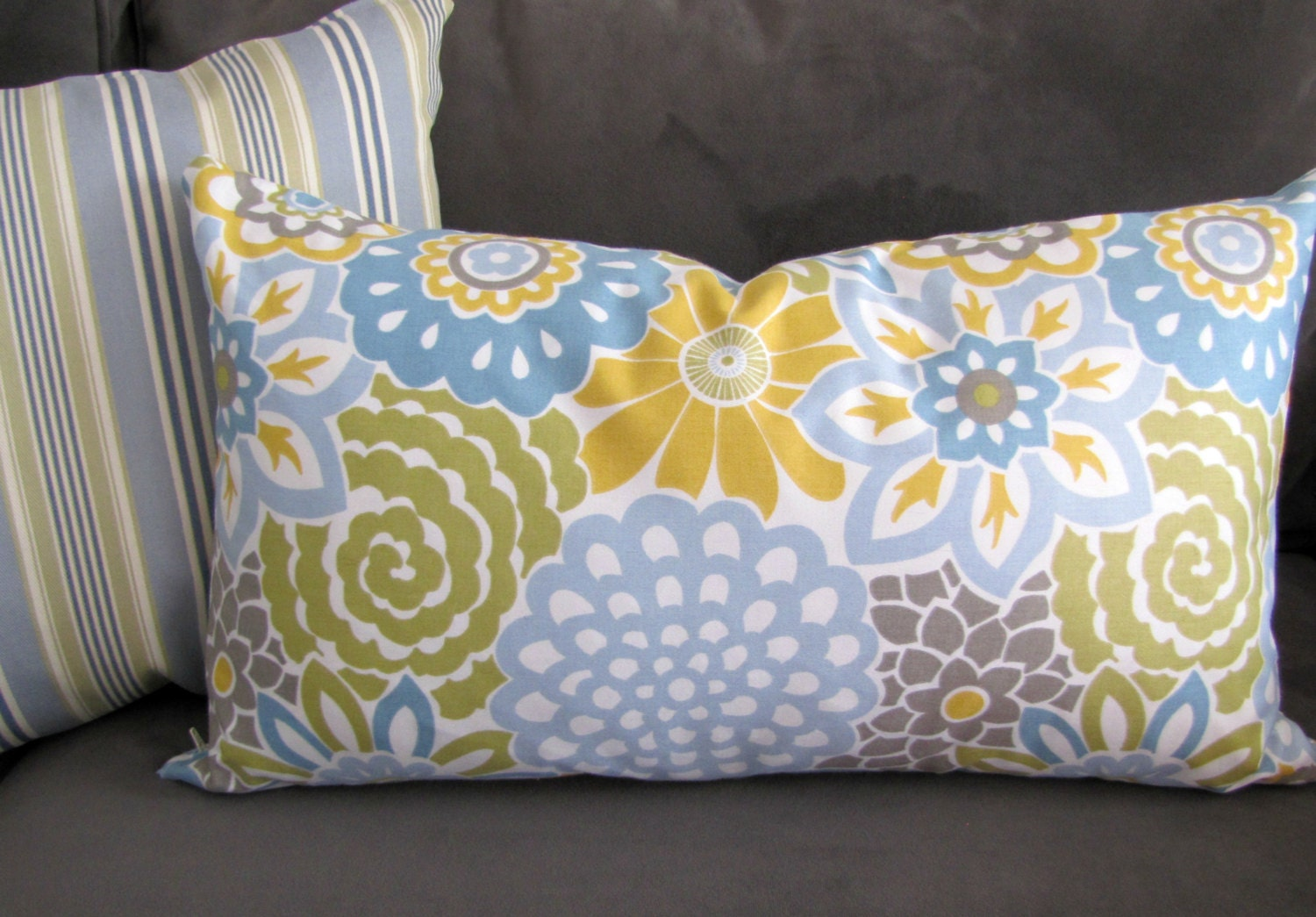 Modern floral lumbar throw pillow shades of blue yellow