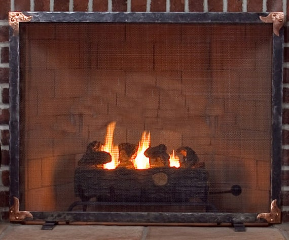 hand forged fireplace screen. Like this item  Ouray Hand Forged Fireplace Screen with Copper Corner Details