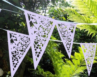 Lilac Lace Bunting Wedding Heart Bunting Banner Garland Party Floral Bunting