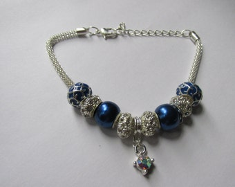 Blue Crystal European Charm Bracelet