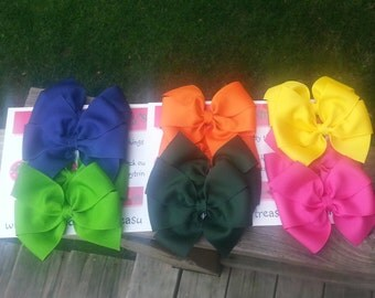 Solid Bow, Set of TWO, Solid Hairbow, Basic Bow, Pinwheel Bow, Back to School Bows,Solid Color Bow, Pigtail Bows, Set of Bows, Sorority Bow