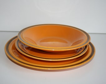 Rare Vintage Egersund Norway Unique Set of 3  Plates  Yellow and Brown   Norwegian Pottery