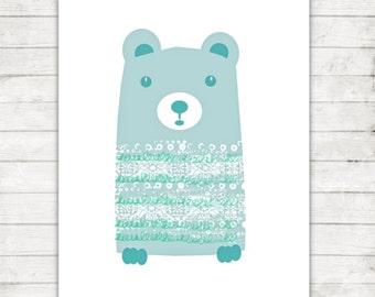 Nursery Art Print, Childrens Bear Print, Printable Art, 8x10 Nursery Art, Woodland Nursery, Cute Bear Print