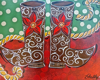 ORIGINAL ARTWORK of Christmas theme with western boots. Metallic gold detail. Acrylic on 16x20 gallery canvas