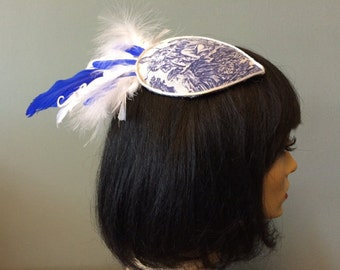 Blue and white toile hair fascinator