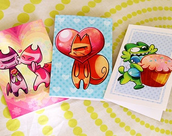 3 Greeting Cards Pack 10x15cm Potato Cats
