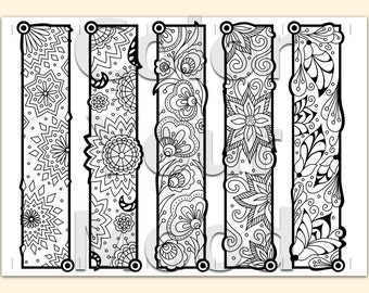 Printable: coloring zendoodle bookmarks