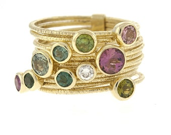 14k Yellow Gold Multi Colored Gemstone & Diamond Bands - Stackable Ring - Stackable - Pink Amethyst, Peridot, Topaz, Diamond Ring
