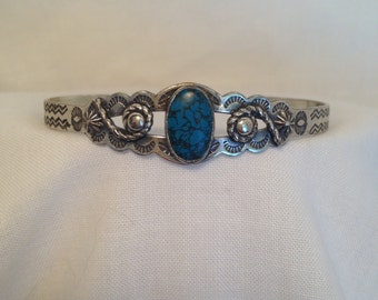 Vintage Sterling Silver Cuff w/ Turquoise