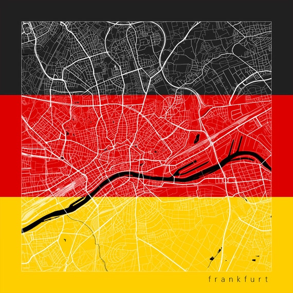 frankfurt city street map frankfurt germany flag modern art print. Black Bedroom Furniture Sets. Home Design Ideas