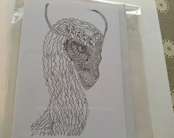 Penned dragon head fantasy mythical cards