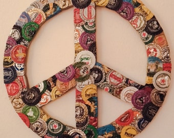 UpCycled wall art! Bottle cap peace sign
