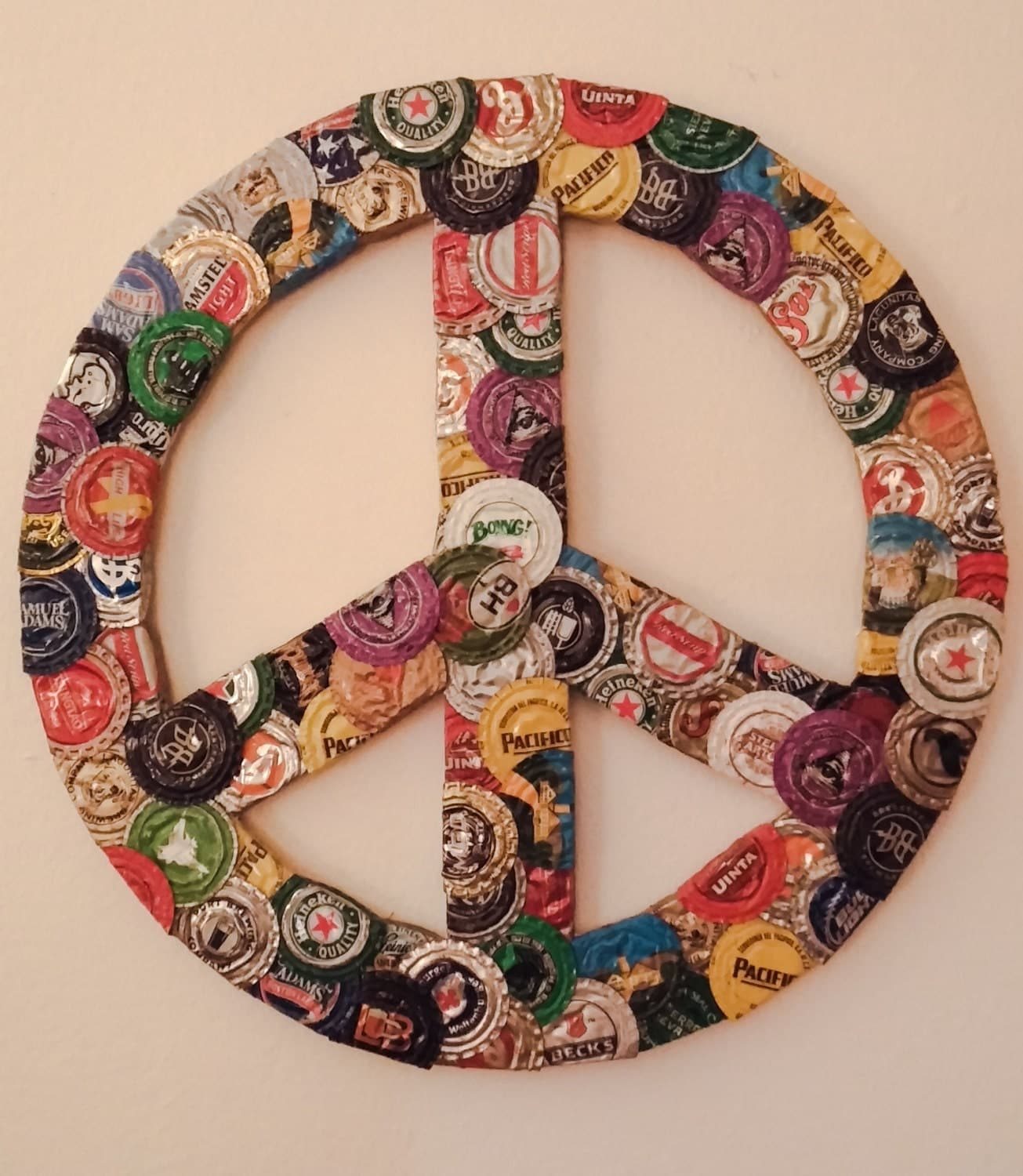 Peace Sign Wall Art upcycled wall art bottle cap peace sign